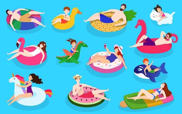 La gente nada coloridos anillos de goma de la piscina, ilustración con personajes aislados con divertidos anillos de goma de natación, estilo plano.