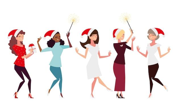 Gente de navidad, grupo de mujeres con regalo de sombrero de santa y fuegos artificiales celebrando la ilustración