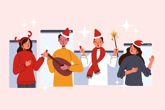 Gente de navidad en línea haciendo diversas actividades.