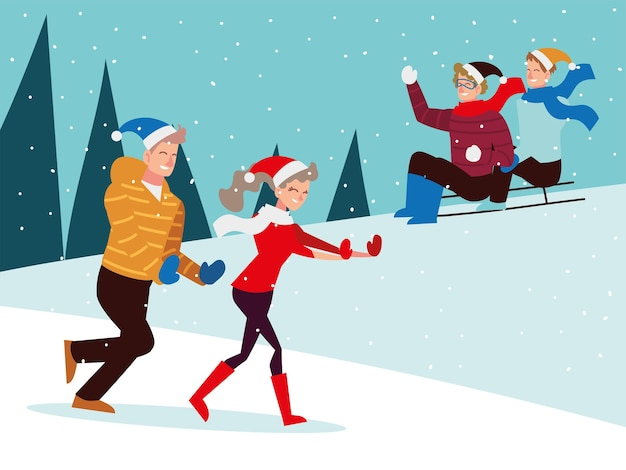 Gente de navidad temporada celebración de invierno, andar en trineo y caminar sobre la nieve ilustración