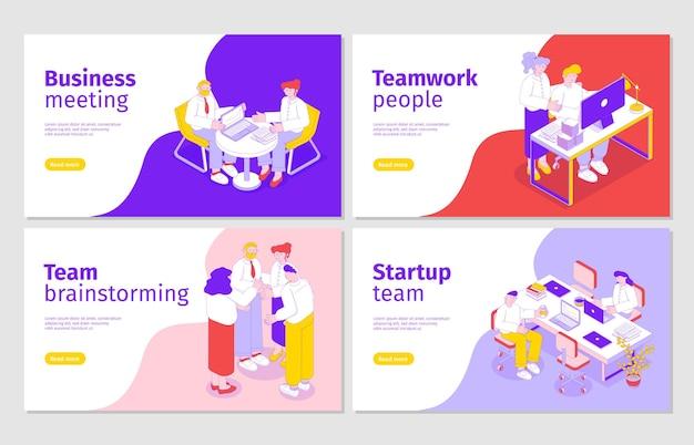 Gente de negocios 4 banners web isométricos con reunión de equipo de inicio, intercambio de ideas, colaboración efectiva en equipo