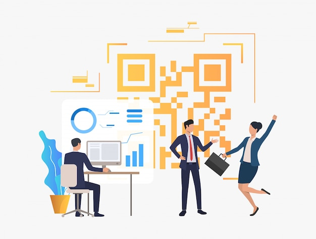 Gente de negocios alegre en oficina, datos financieros y código qr