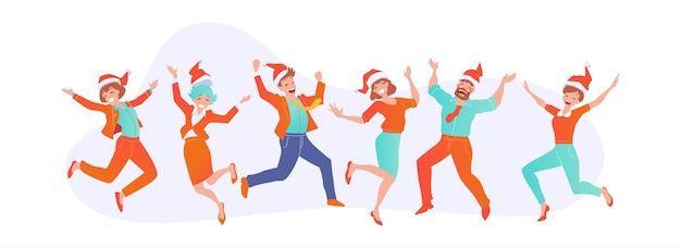 Gente de negocios alegre saltando con sombreros de santa claus