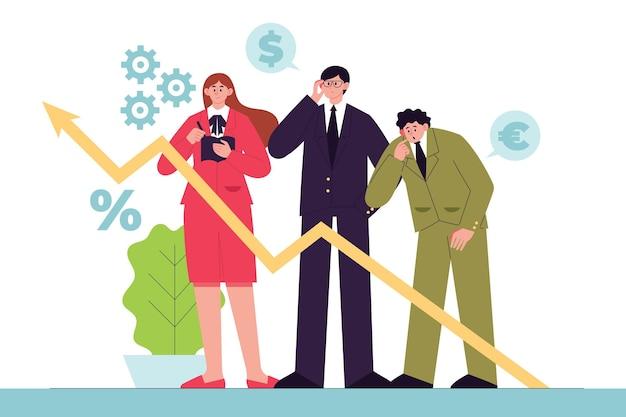 Gente de negocios analizando tablas de crecimiento