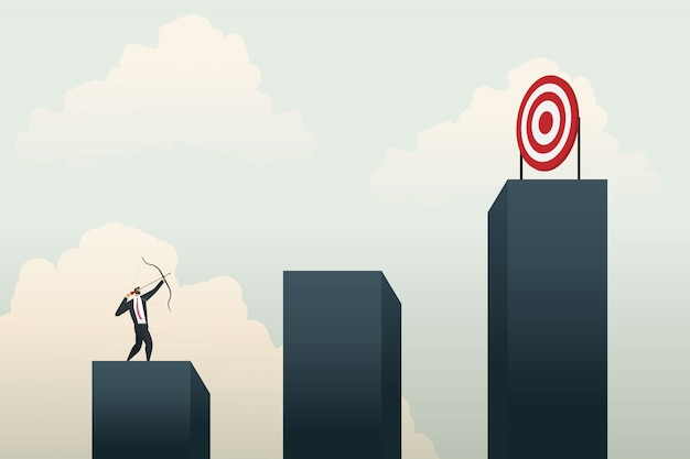 Gente de negocios apuntando al objetivo en el gráfico. concepto de negocio