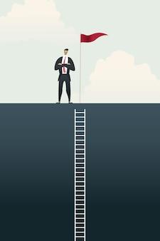 Gente de negocios con la bandera en pie en el gráfico de barras arriba de las metas, concepto de escalera de éxito.