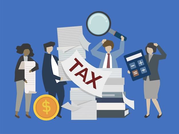 Gente de negocios y banqueros con ilustración de dinero