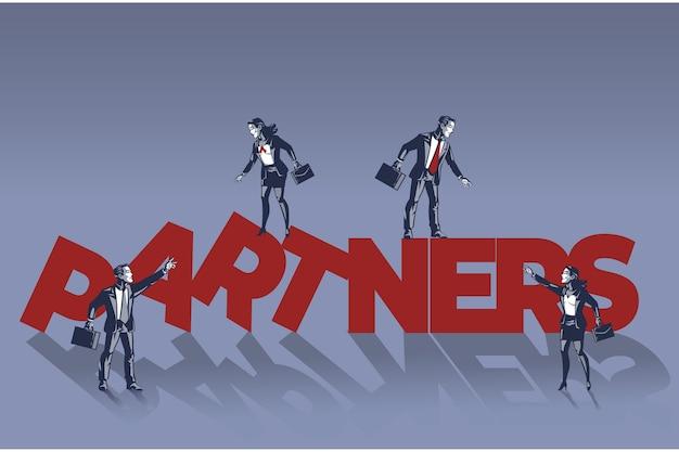 La gente de negocios camina sobre el concepto de ilustración de texto de socios