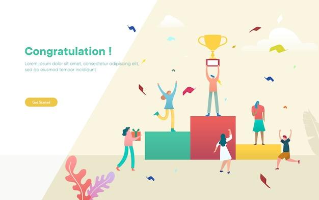 La gente de negocios celebra el concepto de ilustración de éxito del equipo, la gente celebra la victoria y sostiene el trofeo, puede usar para, página de inicio, plantilla, interfaz de usuario, web, aplicación móvil, póster, pancarta, folleto