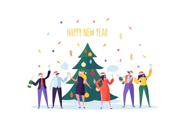 Gente de negocios celebrando la fiesta de año nuevo