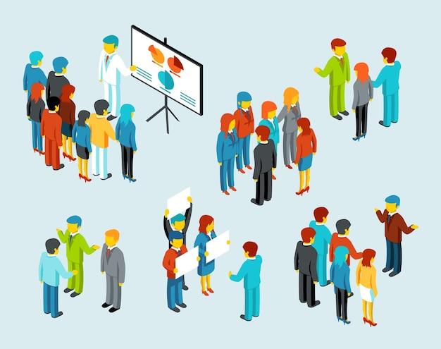 Gente de negocios. comunicación en equipo, discusión, reunión de mujeres empresarias y empresarios, ilustración vectorial