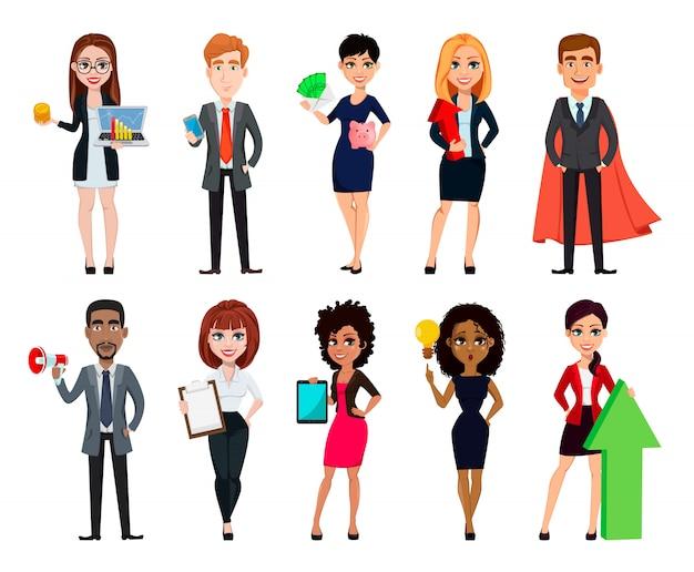 Gente de negocios, conjunto de diez personajes de dibujos animados