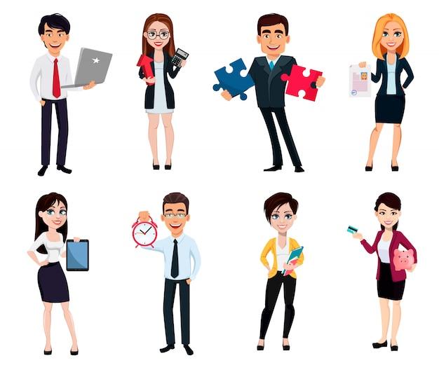 Gente de negocios, conjunto de ocho poses.