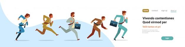 Gente de negocios corriendo banner de competencia de trabajo en equipo