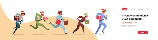 Gente de negocios corriendo espera presente caja de regalo año nuevo navidad vacaciones celebracion bandera