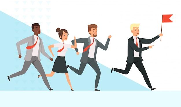 Gente de negocios corriendo con una ilustración de la bandera