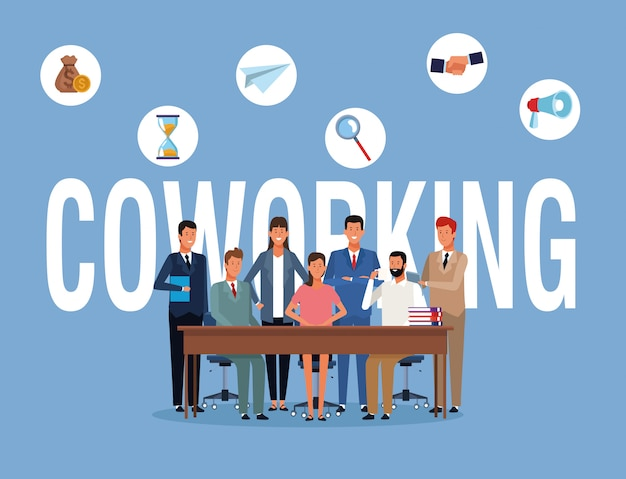 Gente de negocios de coworking