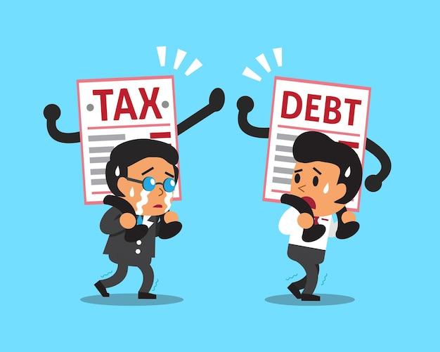 Gente de negocios de dibujos animados con deuda y carta de impuestos