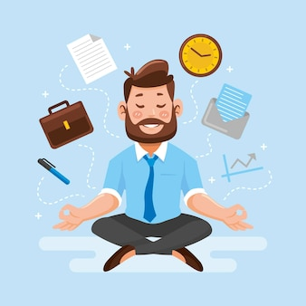 Gente de negocios de dibujos animados meditando ilustración