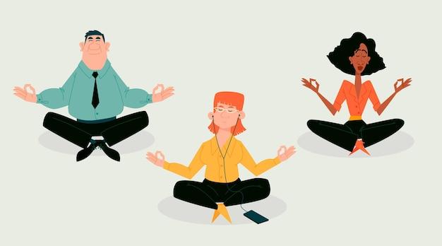 Gente de negocios de dibujos animados meditando