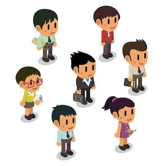 Gente de negocios de dibujos animados de pie aislado en blanco