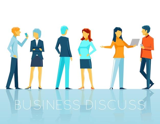 Gente de negocios discutiendo. trabajo en equipo y persona, conversación y charla, ilustración vectorial