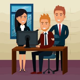 Gente de negocios elegante en la escena de la oficina