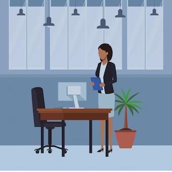 Gente de negocios y elementos de oficina