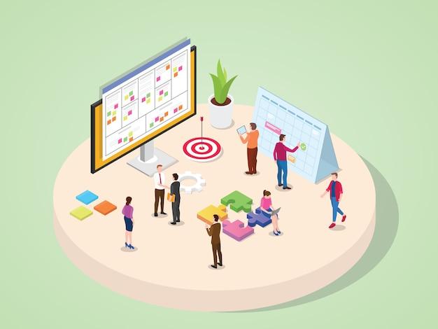 La gente de negocios de la empresa de marketing legal, contabilidad y otros departamentos trabajan juntos en el concepto de gestión de proyectos de equipo con isometría isométrica estilo de dibujos animados plano 3d