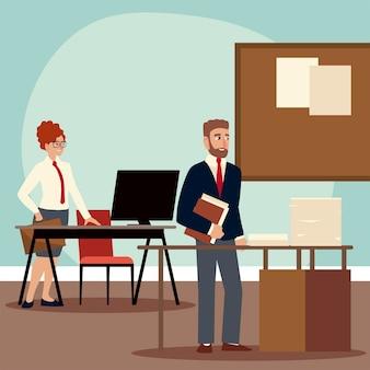 Gente de negocios, empresario y empresaria trabajando en la ilustración de la oficina