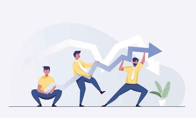 Gente de negocios empujando el gráfico de flecha financiera hacia arriba. crecimiento, éxito, gestión de crisis. ilustración vectorial