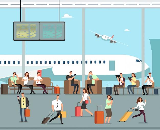 Gente de negocios con equipaje en concepto de viaje de vector de aeropuerto
