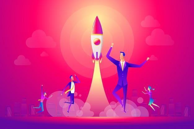 Gente de negocios y equipo celebrando una puesta en marcha exitosa.