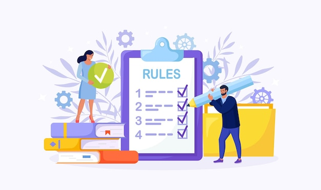 Gente de negocios estudiando la lista de reglas, leyendo la guía, haciendo la lista de verificación. pequeños empresarios conocen el orden de la empresa, las restricciones, las leyes y los reglamentos.