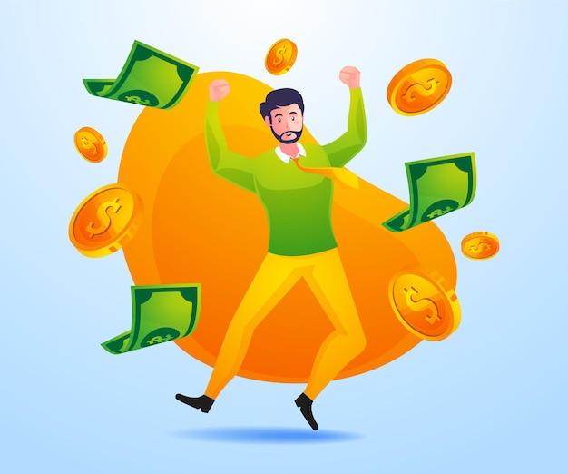 Gente de negocios exitosa gana mucho dinero