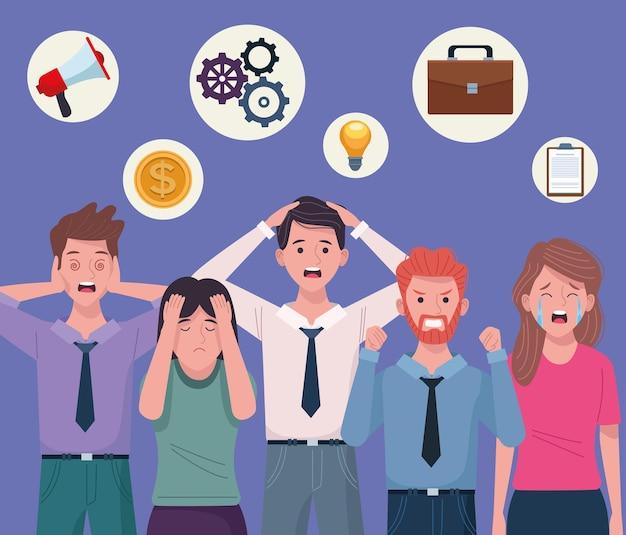 Gente de negocios extressed avatares personajes ilustración