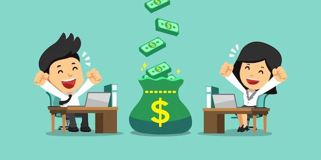 Gente de negocios feliz de dibujos animados con gran bolsa de dinero de bonificación