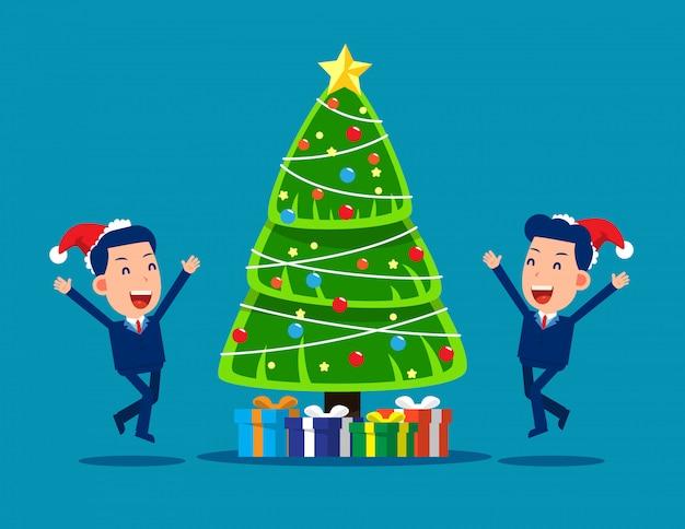 Gente de negocios feliz fiesta de navidad
