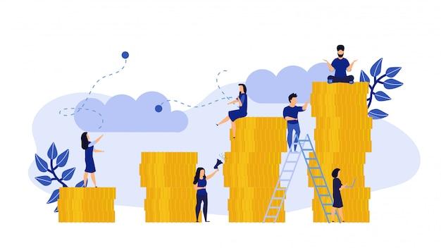 Gente de negocios finanzas ilustración plana de trabajo de rendimiento