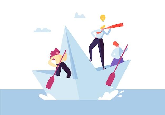 Gente de negocios flotando en un barco de papel