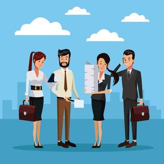 Gente de negocios fuera de dibujos animados