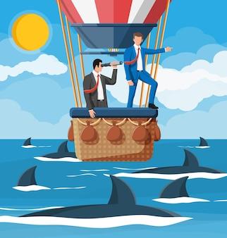 Gente de negocios en globo aerostático, tiburón en el agua. hombre de negocios con catalejo. obstáculo en la carretera, crisis financiera. desafío de la gestión de riesgos. búsqueda de estrategia de solución empresarial. ilustración vectorial plana