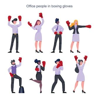Gente de negocios con guantes de boxeo rojos. personajes femeninos y masculinos en pose de fuerte ganador. sonrisa de trabajador de negocios. empleado exitoso, competencia.