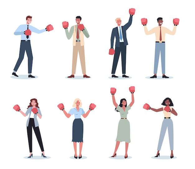 Gente de negocios con guantes de boxeo rojos. personajes femeninos y masculinos en pose de fuerte ganador. sonrisa de trabajador de negocios. empleado exitoso, concepto de competencia.