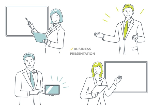 Gente de negocios haciendo un conjunto de presentación