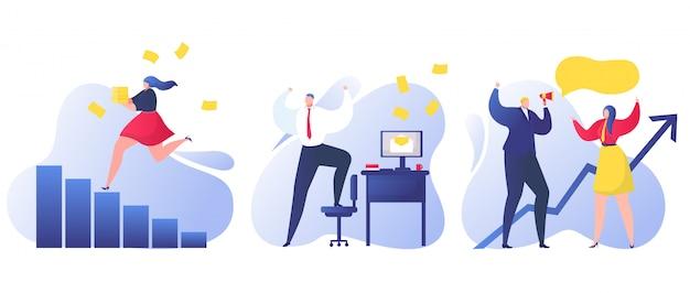 Gente de negocios hombre mujer, gerente empresario obtener noticias felices, ilustración. carácter de la persona en concepto de buen humor. buenas noticias en bocadillo, comunicación de oficina.