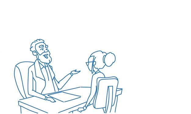 Gente de negocios hombre mujer hablando entrevista comunicación sentado oficina escritorio bosquejo doodle