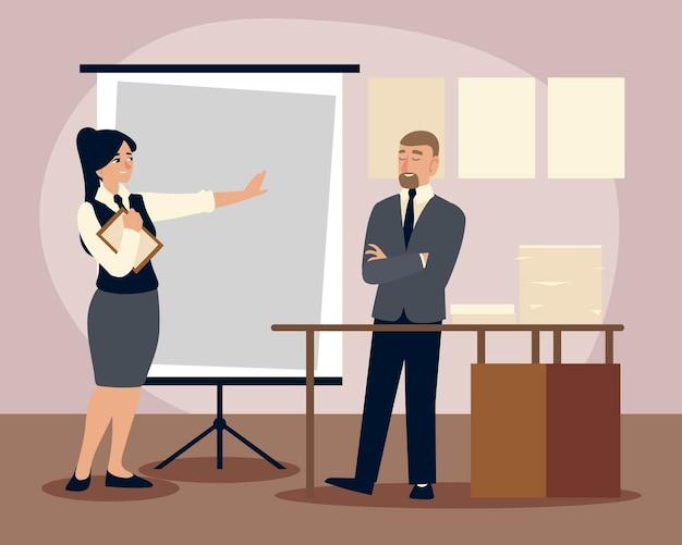 Gente de negocios, hombre y mujer de negocios con ilustración de oficina de plan de presentación de tablero