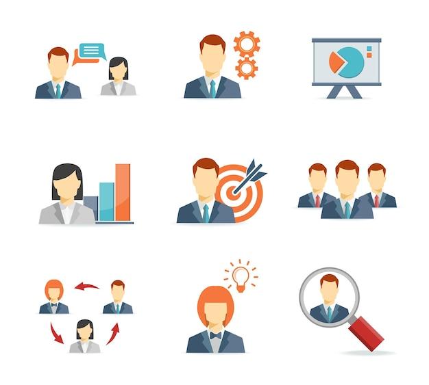 Gente de negocios para iconos planos de aplicaciones web y móviles