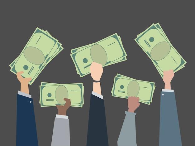Gente de negocios con ilustración de dinero